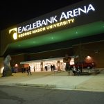 EagleBank Arena exterior at night 1